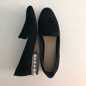 Nine West black work flats with pearl heel detail